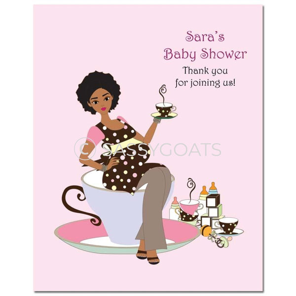 Baby Shower Party Poster - Teacup Mommy African American