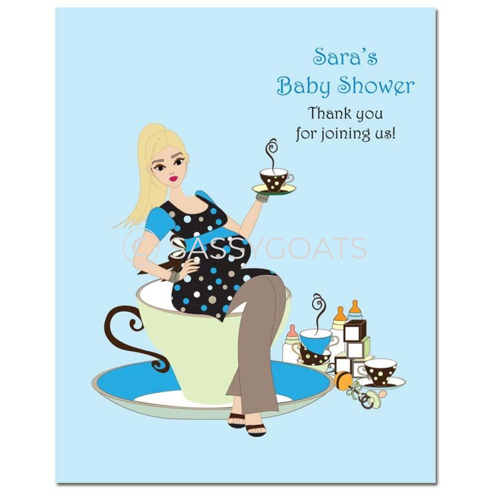 Baby Shower Party Poster - Teacup Mommy Blonde