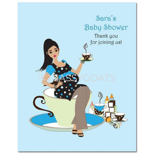 Baby Shower Party Poster - Teacup Mommy Brunette