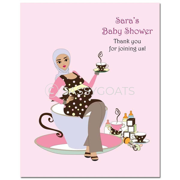Baby Shower Party Poster - Teacup Mommy Headscarf Hijab