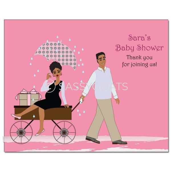 Baby Shower Party Poster - Wagon Diva African American