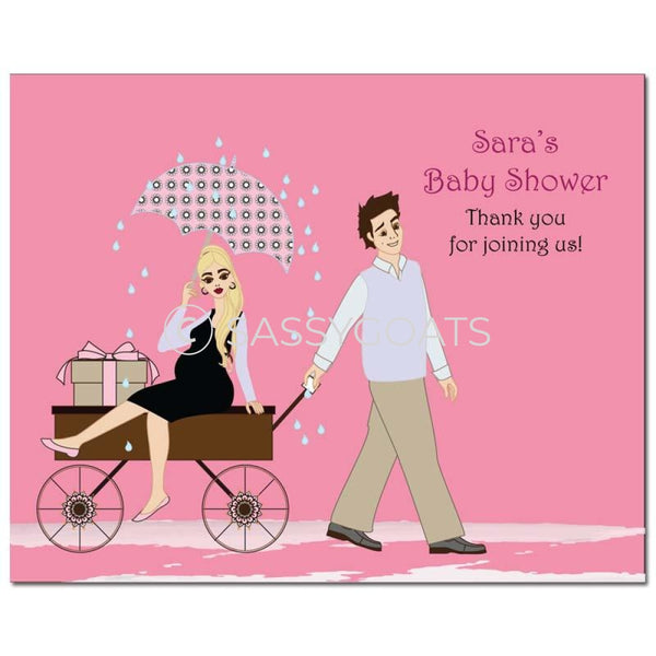 Baby Shower Party Poster - Wagon Diva Blonde