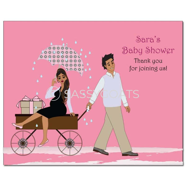 Baby Shower Party Poster - Wagon Diva Brunette