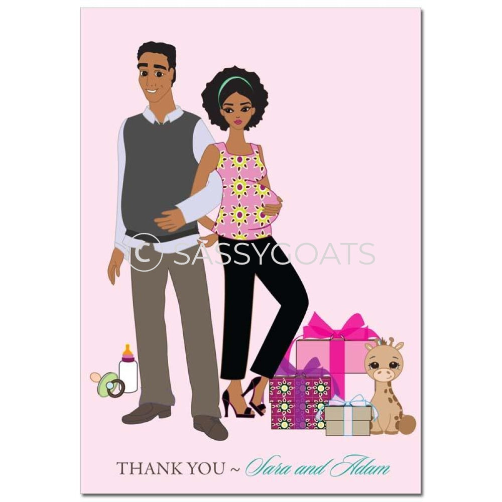 Baby Shower Thank You Card - Back To African American
