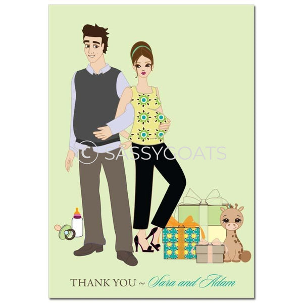 Baby Shower Thank You Card - Back To Brunette