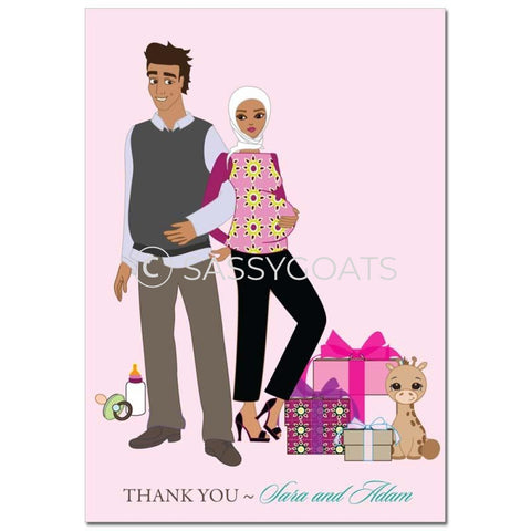 Baby Shower Thank You Card - Back To Headscarf Hijab