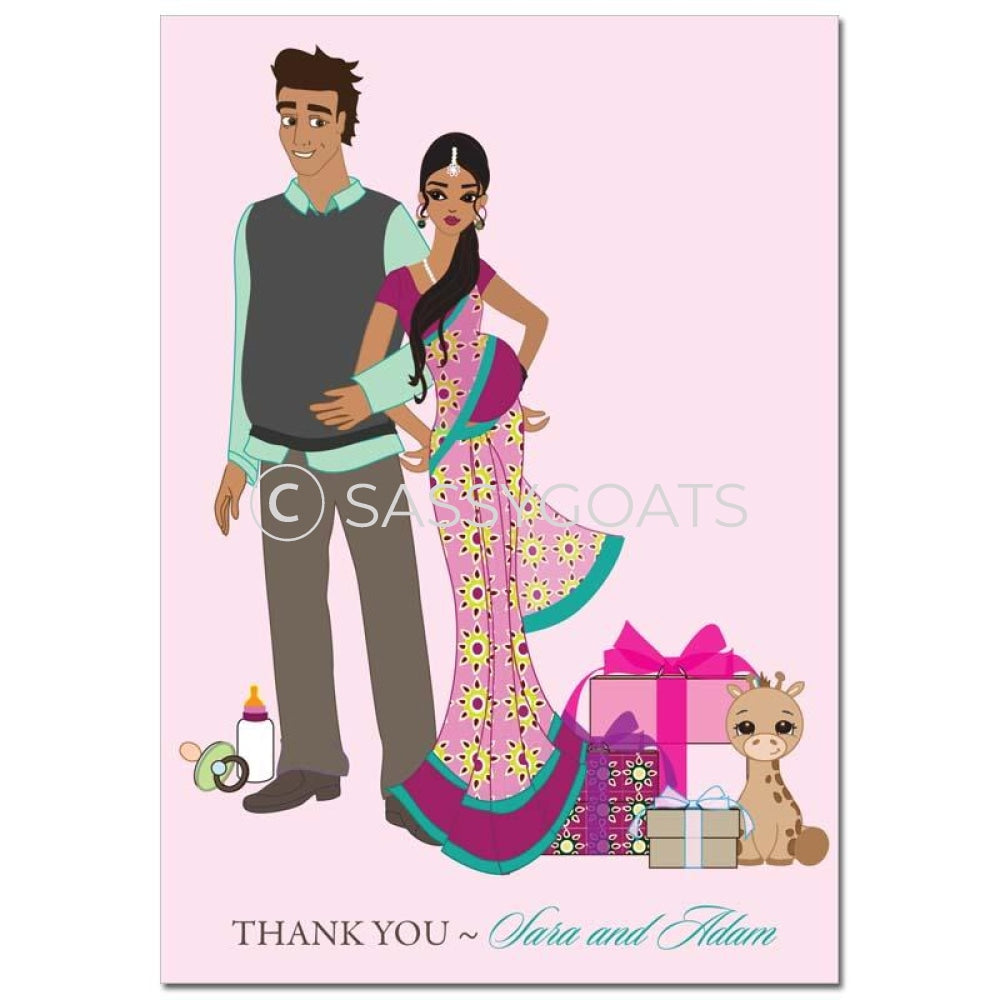 Baby Shower Thank You Card - Back To South Asian