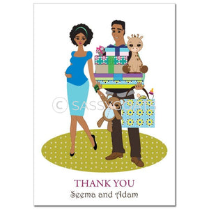 Baby Shower Thank You Card - Bounty African American