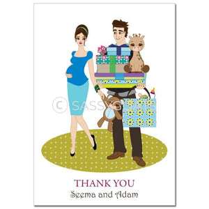 Baby Shower Thank You Card - Bounty Brunette