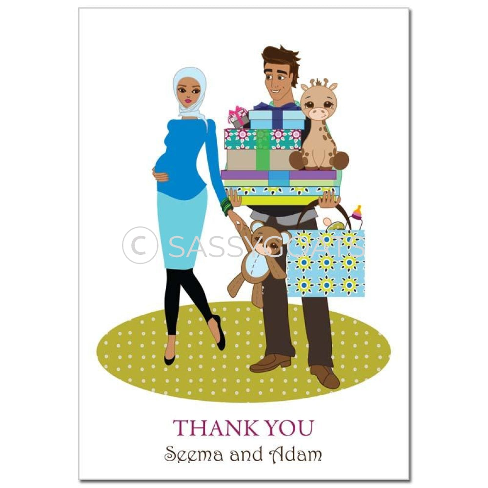 Baby Shower Thank You Card - Bounty Headscarf Hijab