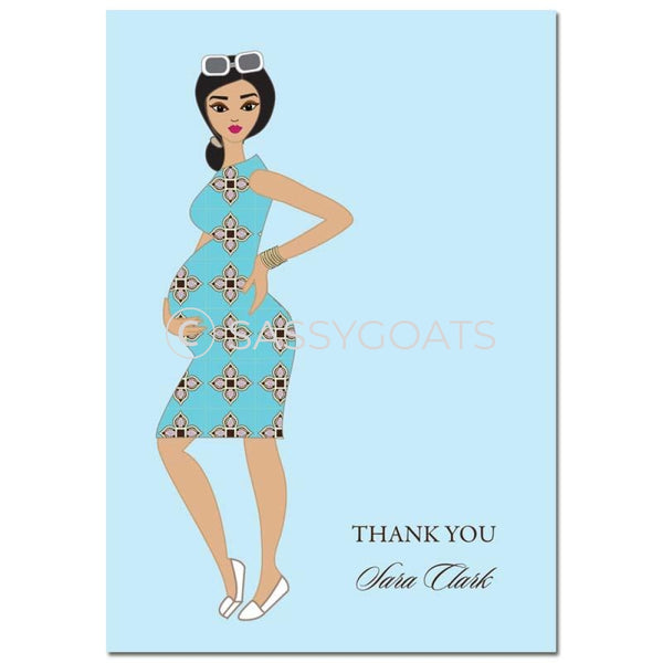 Baby Shower Thank You Card - Dining Diva Brunette