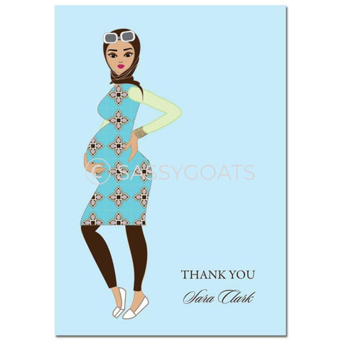 Baby Shower Thank You Card - Dining Diva Headscarf Hijab