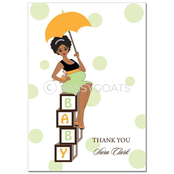 Baby Shower Thank You Card - Diva Blocks African American