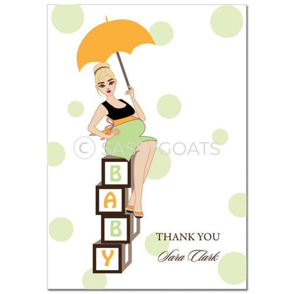 Baby Shower Thank You Card - Diva Blocks Blonde