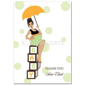 Baby Shower Thank You Card - Diva Blocks Brunette