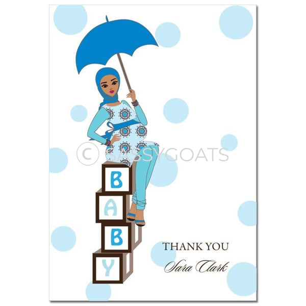 Baby Shower Thank You Card - Diva Blocks Headscarf Hijab