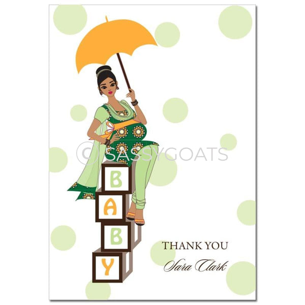 Baby Shower Thank You Card - Diva Blocks South Asian