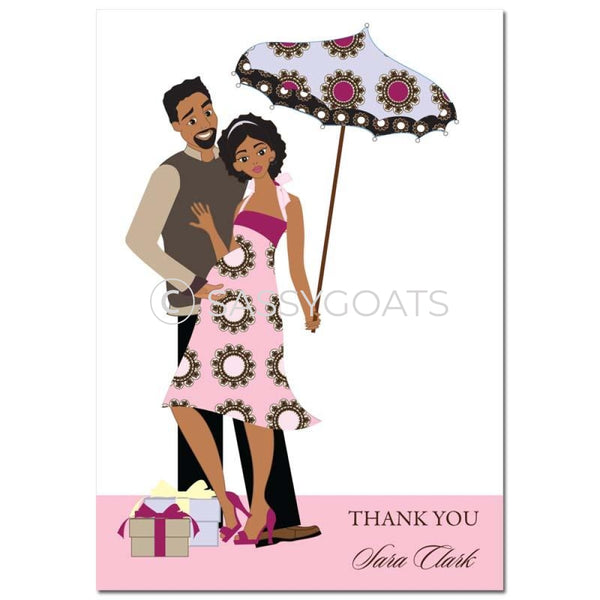 Baby Shower Thank You Card - Fancy Umbrella African American