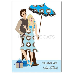 Baby Shower Thank You Card - Fancy Umbrella Blonde