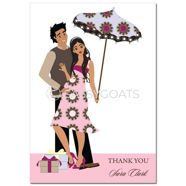 Baby Shower Thank You Card - Fancy Umbrella Brunette