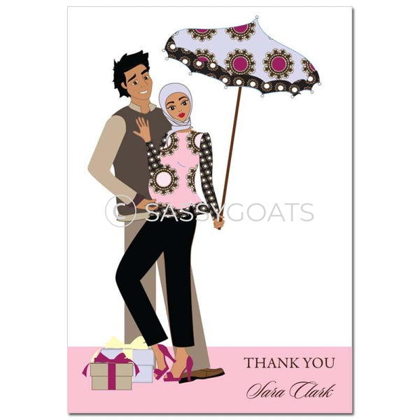 Baby Shower Thank You Card - Fancy Umbrella Headscarf Hijab