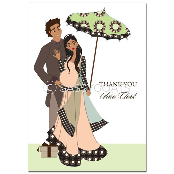 Baby Shower Thank You Card - Fancy Umbrella South Asian