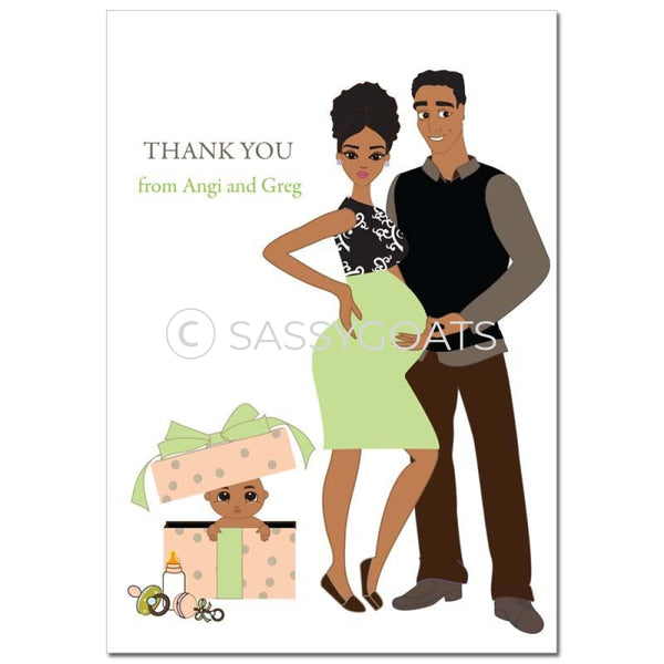 Baby Shower Thank You Card - Glam Couple African American