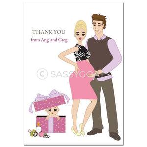Baby Shower Thank You Card - Glam Couple Blonde