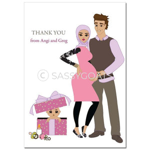 Baby Shower Thank You Card - Glam Couple Headscarf Hijab