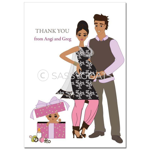 Baby Shower Thank You Card - Glam Couple South Asian
