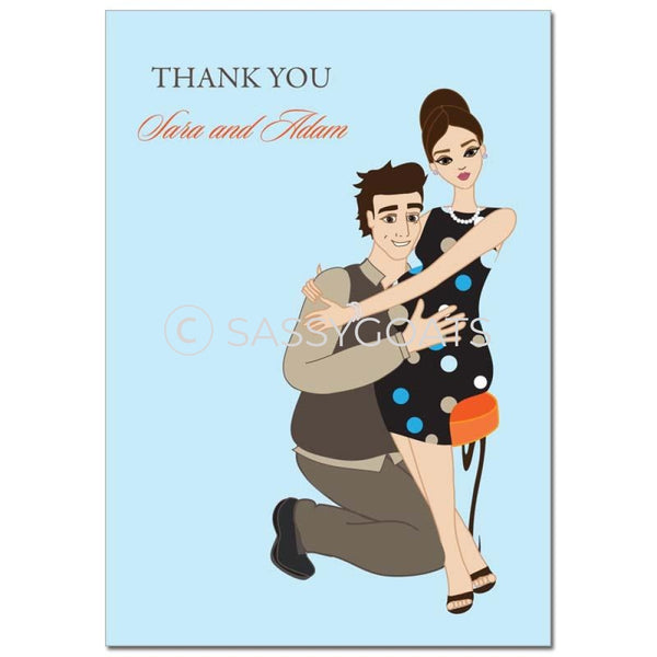 Baby Shower Thank You Card - Hugs Brunette