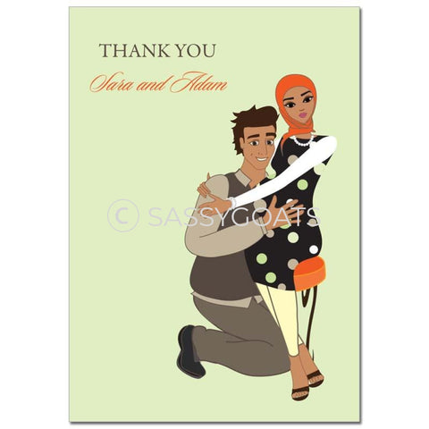 Baby Shower Thank You Card - Hugs Headscarf Hijab