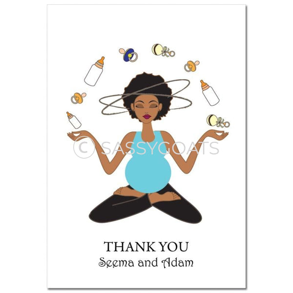 Baby Shower Thank You Card - Meditating Mommy African American