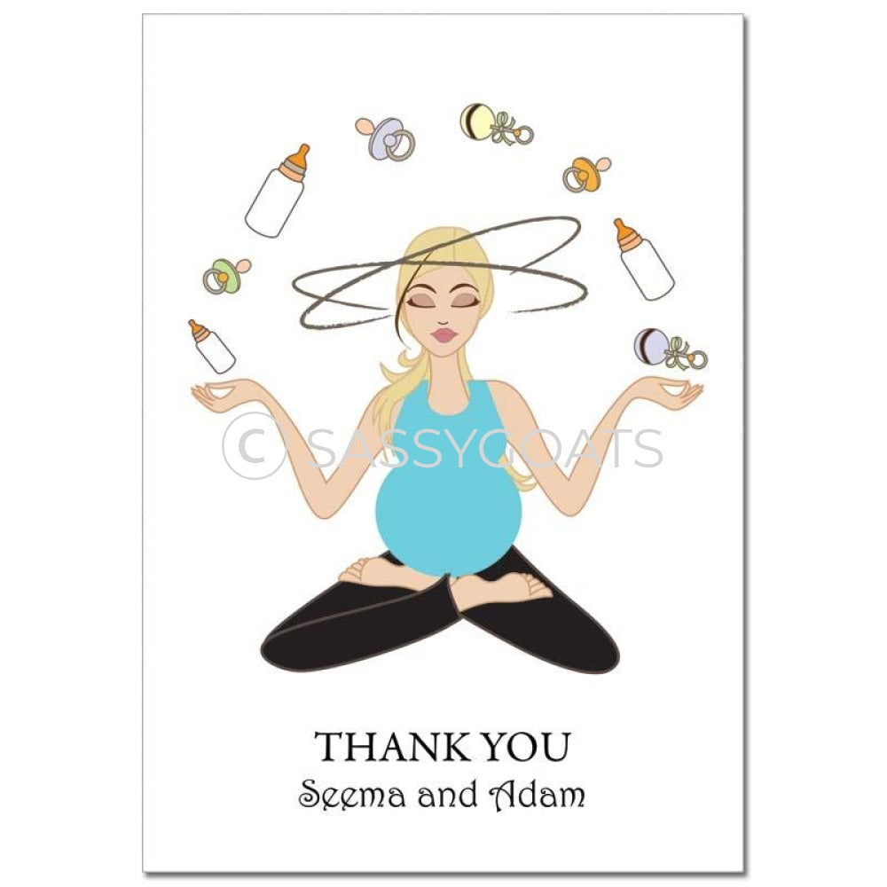 Baby Shower Thank You Card - Meditating Mommy Blonde