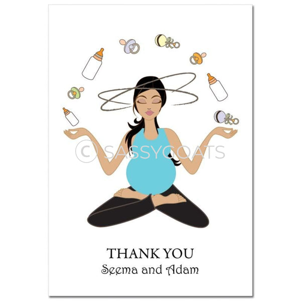 Baby Shower Thank You Card - Meditating Mommy Brunette