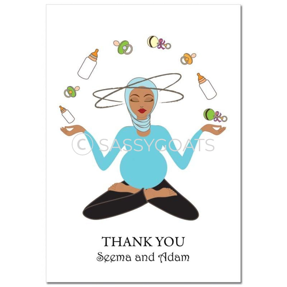 Baby Shower Thank You Card - Meditating Mommy Headscarf Hijab