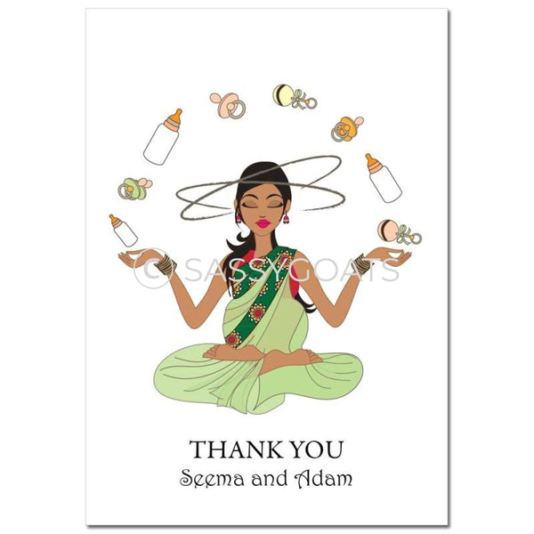 Baby Shower Thank You Card - Meditating Mommy South Asian