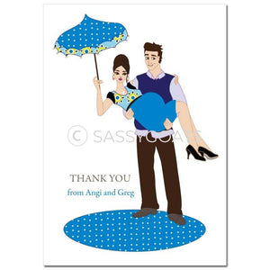 Baby Shower Thank You Card - Mommy Cargo Brunette