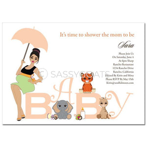 Baby Shower Thank You Card - Safari Animals Brunette