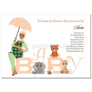 Baby Shower Thank You Card - Safari Animals Headscarf Hijab