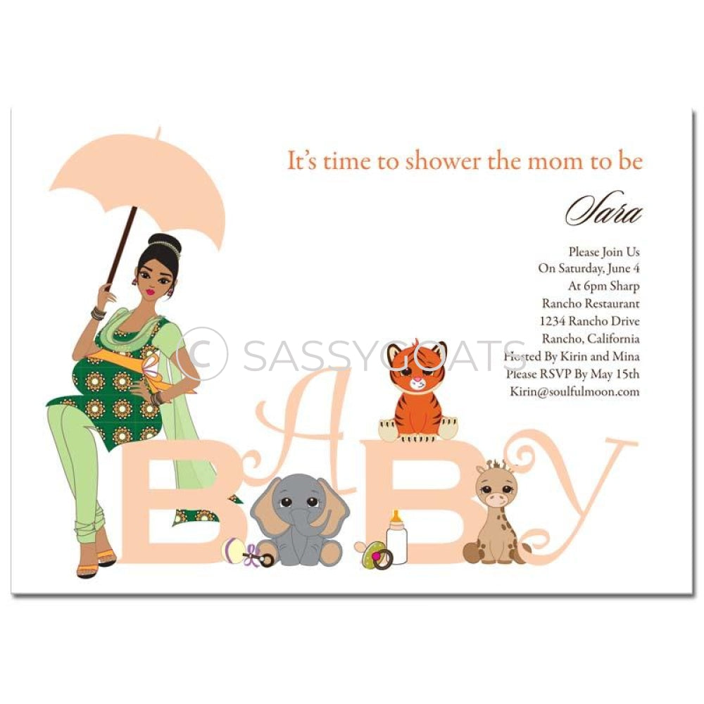 Baby Shower Thank You Card - Safari Animals South Asian