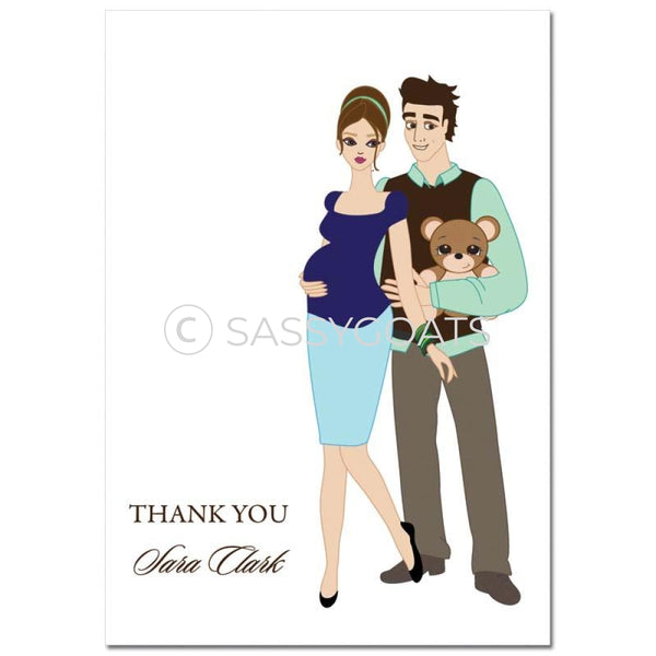 Baby Shower Thank You Card - Shelf Brunette