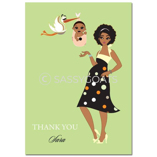 Baby Shower Thank You Card - Spring Delivery African American