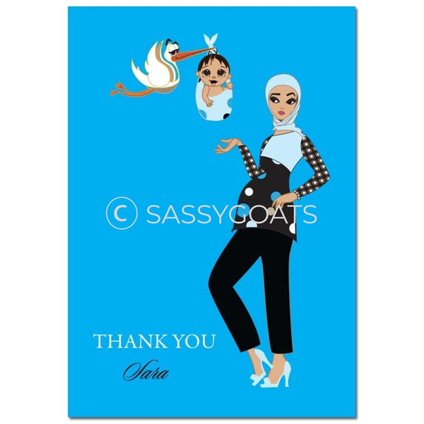 Baby Shower Thank You Card - Spring Delivery Headscarf Hijab