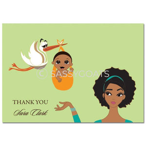 Baby Shower Thank You Card - Stork Mommy African American
