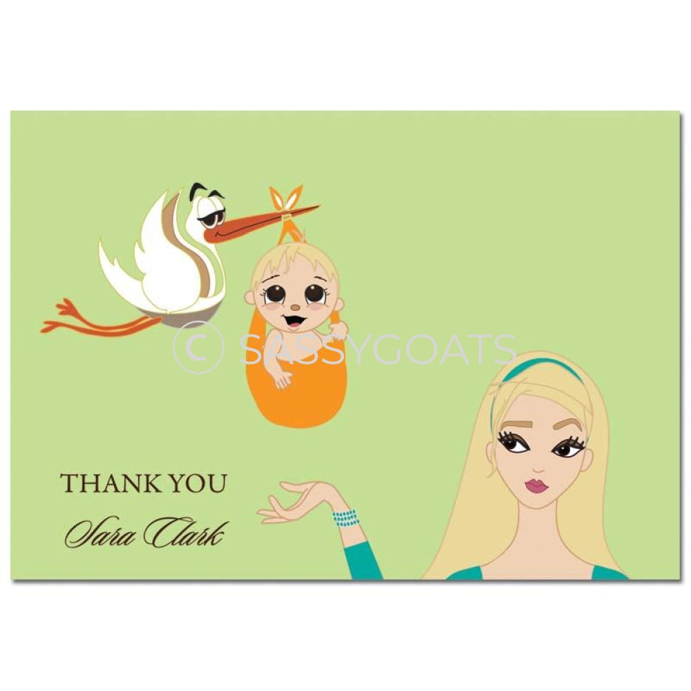Baby Shower Thank You Card - Stork Mommy Blonde