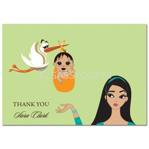 Baby Shower Thank You Card - Stork Mommy Brunette