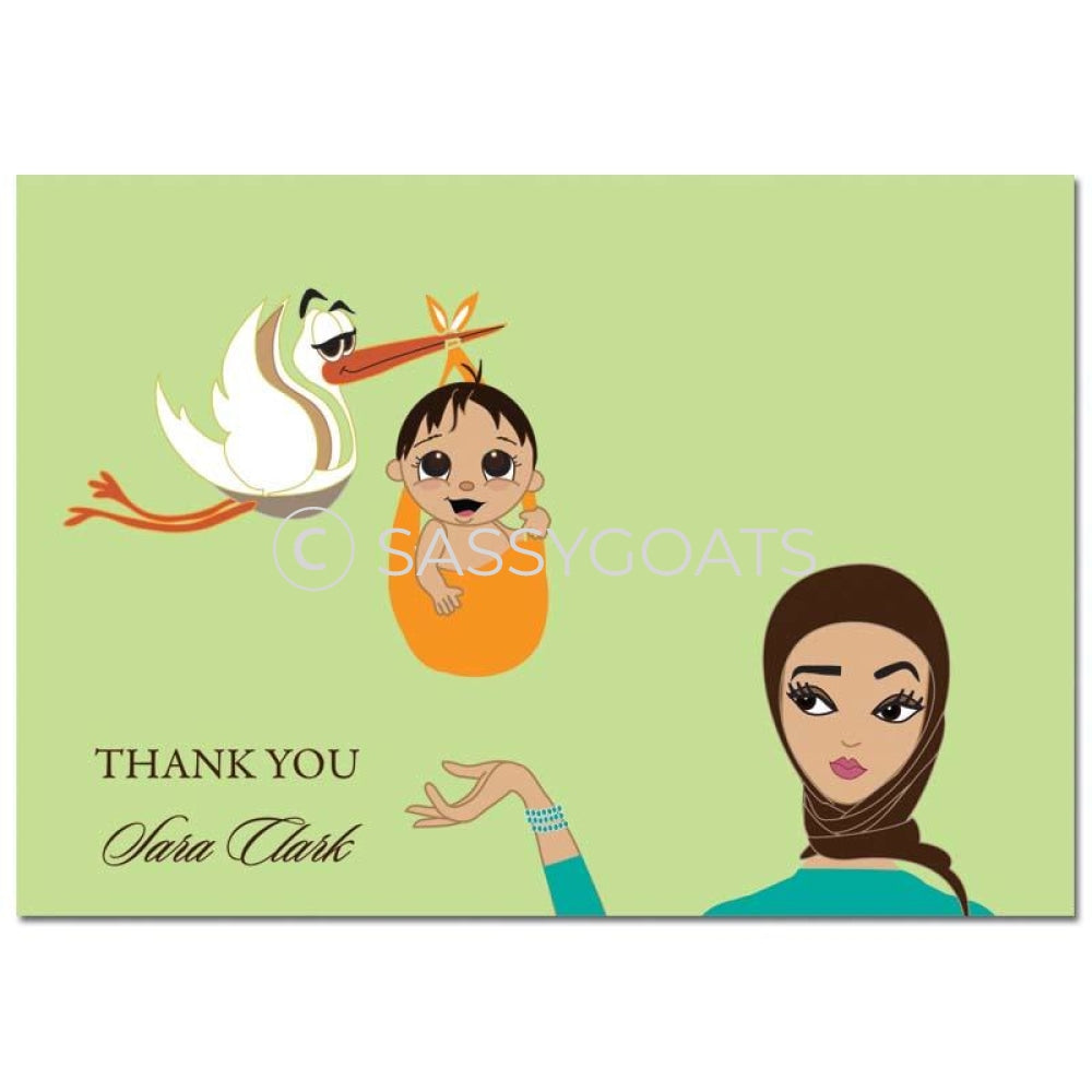 Baby Shower Thank You Card - Stork Mommy Headscarf Hijab