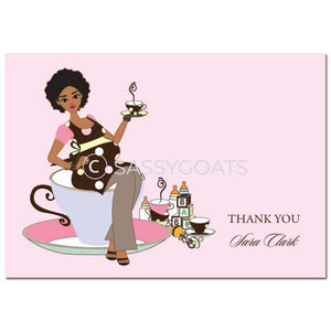 Baby Shower Thank You Card - Teacup Mommy African American