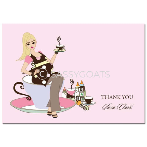 Baby Shower Thank You Card - Teacup Mommy Blonde
